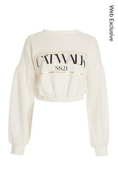 White Cropped Slogan Sweatshirt